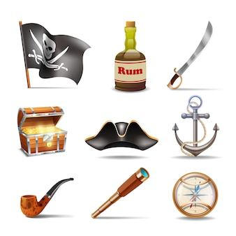 Conjunto de iconos pirata
