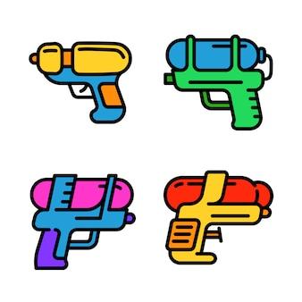 Conjunto de iconos de pistola de agua, estilo de contorno