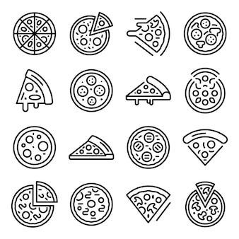 Conjunto de iconos de pizza, estilo de contorno