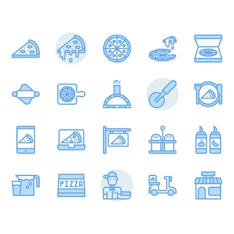 Conjunto de iconos de pizza