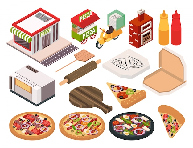 Conjunto de iconos de pizzería isométrica