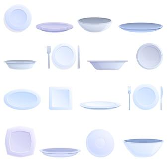 Conjunto de iconos de placa. conjunto de dibujos animados de iconos de vector de placa
