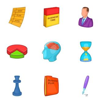 Conjunto de iconos de plan de negocios, estilo de dibujos animados