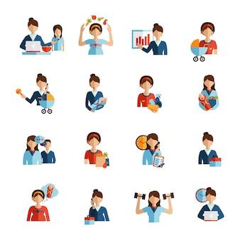 Conjunto de iconos plana madre empresaria