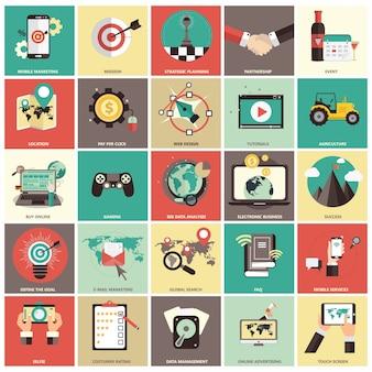 Conjunto de iconos plana para los negocios
