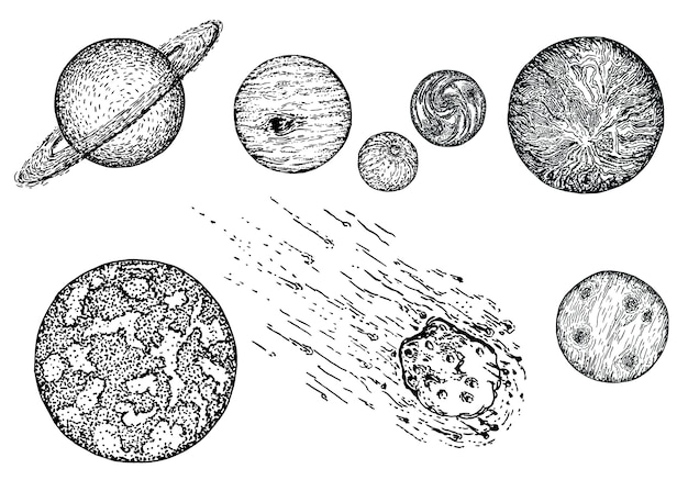 Conjunto de iconos de planeta bosquejo, tinta dibujada a mano ilustración