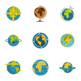 Conjunto de iconos de planeta. conjunto plano de 9 iconos vectoriales planeta