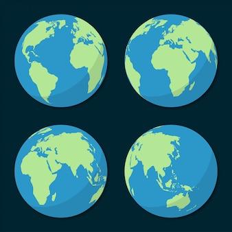 Conjunto de iconos del planeta tierra en un diseño plano