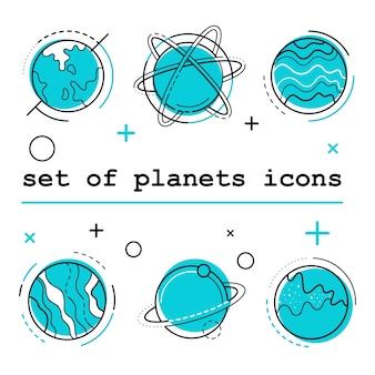 Conjunto de iconos de planetas. ilustración vectorial blanco bg