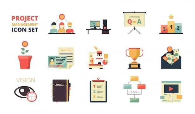 Conjunto de iconos de planificación de proyecto