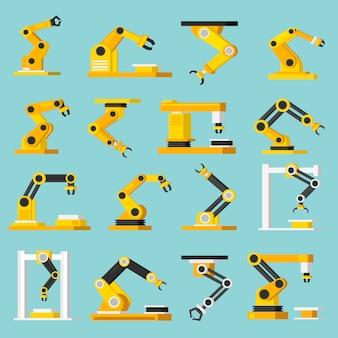 Conjunto de iconos plano ortogonal de transportador de automatización