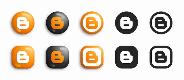 Conjunto de iconos planos y 3d modernos de redes sociales
