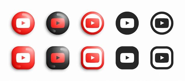 Conjunto de iconos planos y 3d modernos de youtube