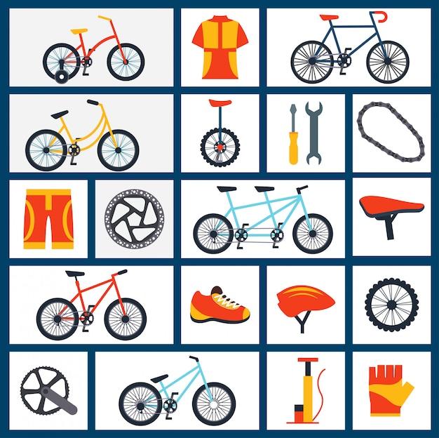 Conjunto de iconos planos de accesorios de bicicleta
