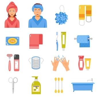 Conjunto de iconos planos de accesorios de higiene