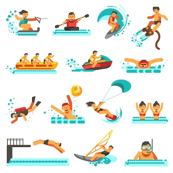 Conjunto de iconos planos de actividades de verano deporte acuático
