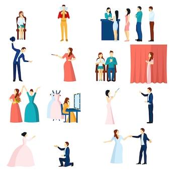 Conjunto de iconos planos de actores de teatro