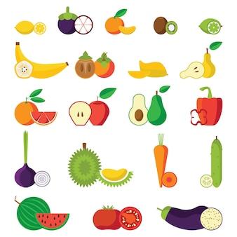 Conjunto de iconos planos aislados de frutas y verduras