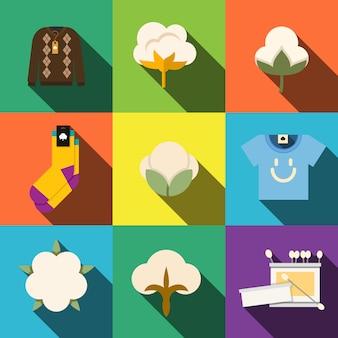 Conjunto de iconos planos de algodón