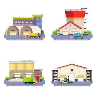 Conjunto de iconos planos de almacén