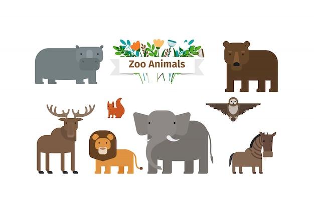 Conjunto de iconos planos de animales de zoológico