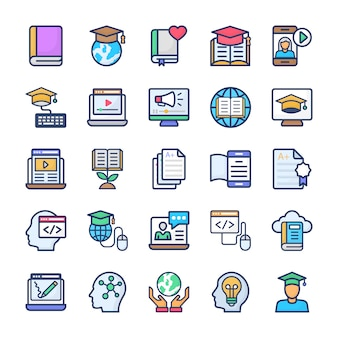 Conjunto de iconos planos de aprendizaje en línea