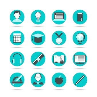 Conjunto de iconos planos de aprendizaje