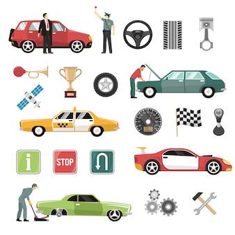Conjunto de iconos planos de auto de coche
