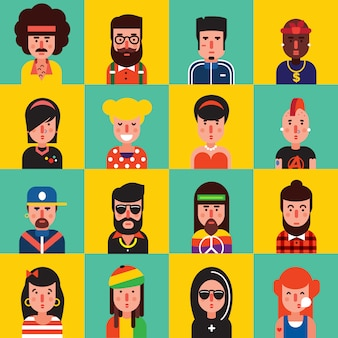 Conjunto de iconos planos de avatar