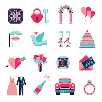 Conjunto de iconos planos de boda
