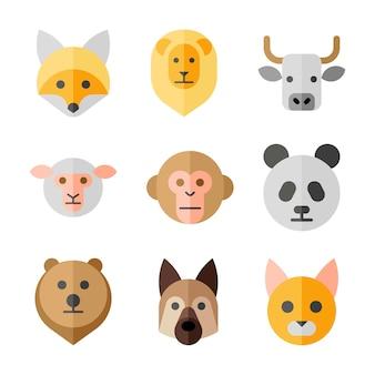Conjunto de iconos planos de cabezas de animales