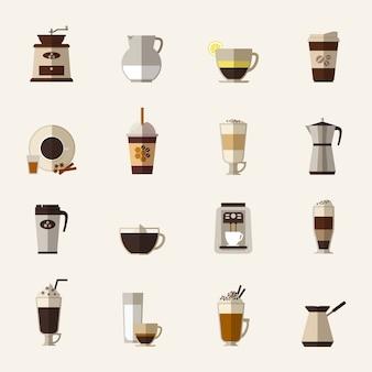 Conjunto de iconos planos de café. taza y turk, molinillo y máquina, bebida y café con leche, comida para llevar y moka