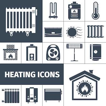 Conjunto de iconos planos de calefacción