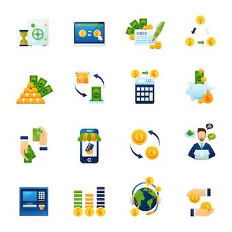 Conjunto de iconos planos de cambio de moneda