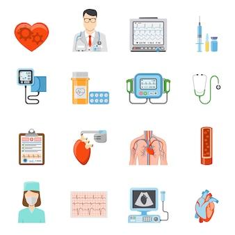 Conjunto de iconos planos de cardiología