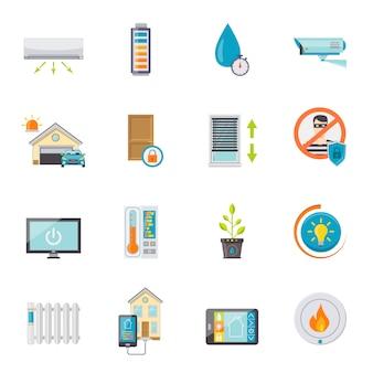 Conjunto de iconos planos casa inteligente