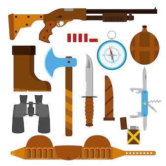 Conjunto de iconos planos de caza con cuchillo, hacha, escopeta, estuche, encendedor, bolígrafo, compás