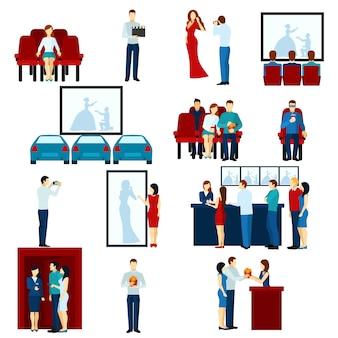 Conjunto de iconos planos de cine cine teatro