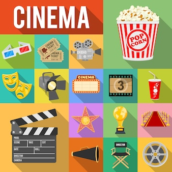 Conjunto de iconos planos de cine