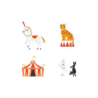 Conjunto de iconos planos de circo