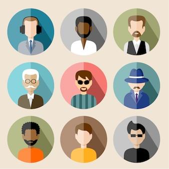 Conjunto de iconos planos círculo con hombre.