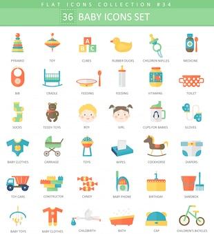 Conjunto de iconos planos de color bebé.