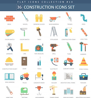 Conjunto de iconos planos de color de construcción