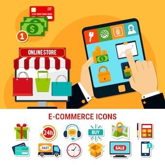 Conjunto de iconos planos de comercio electrónico