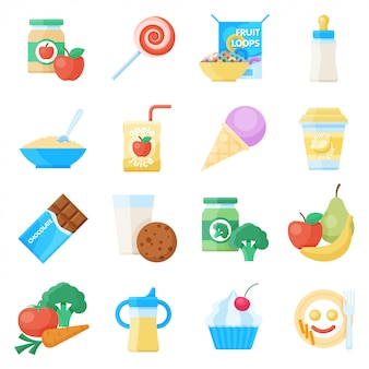 Conjunto de iconos planos de comida para bebés