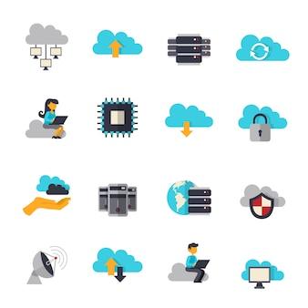 Conjunto de iconos planos de computación en la nube