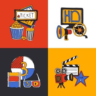Conjunto de iconos planos de concepto de diseño de cine