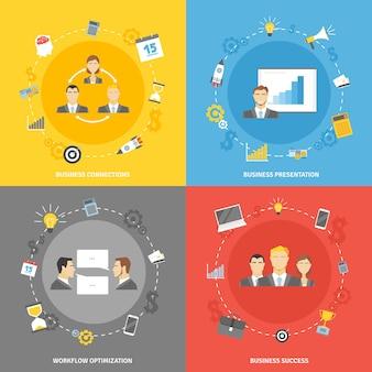 Conjunto de iconos planos de concepto de negocio