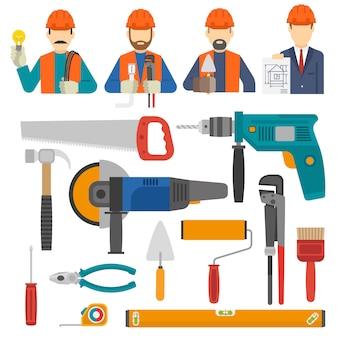 Conjunto de iconos planos de construcción