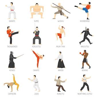Conjunto de iconos planos decorativos de artes marciales